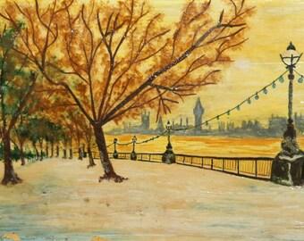 Antique oil painting impressionist riverside cityscape