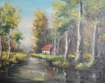 Vintage river scene landcape oil painting