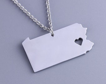 I heart  Pennsylvania Necklace - Pennsylvania Pendant - Map Jewelry - State Charm - Map necklace