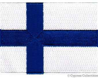 FINLAND FLAG PATCH iron-on embroidered applique Top Quality
