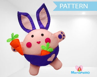 Bunny Pattern, Felt Bunny Plush Toy, Rabbit Sewing Pattern A1085
