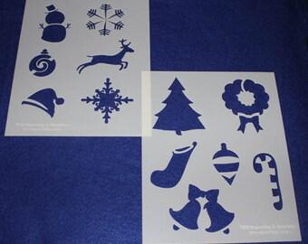 """2 Piece Set  8"""" x 10"""" -Holiday Stencil-  14 Mil Mylar"""