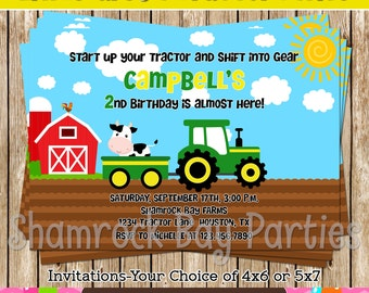 Little Green Tractor Invitation-DIY- Print Your Own-Printable-Green YellowTractor
