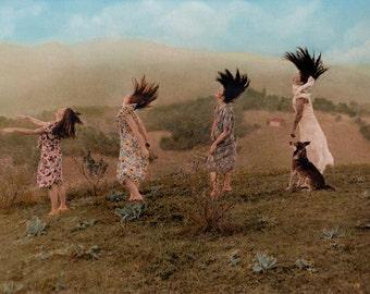 GICLEE PRINT, Vintage photo, Sisters, Women wall art, German Shepherd, Costumes, Romantic art, Dog, Country art, Landscape photo, Celebrate