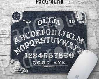 Black Ouija Board Mouse Pad, Spirits Board, Vintage Office Decor, Computer Accessories, Natural Soft Fabric rubber backing Mouse Pad - OB02