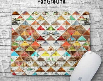 Geometry Mouse Pad, Aztec Mouse Pad, Tribal Totem, Desk Decor, Computer Accessories, Natural Soft Fabric rubber backing Mouse Pad - WD06