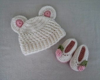 Crochet Hat and Slippers for Baby Girl