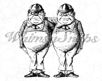 Tweedle Dee and Tweedle Dum Alice in Wonderland Illustration DIGITAL IMAGE Download,  .png and .jpeg, transfer