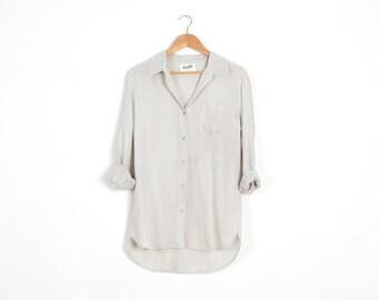 SALE 50% Off! Off-white Button-Down Shirt, women Shirt, oversize shirt, women blouse, boyfriend shirt, women top, off-white shirt.