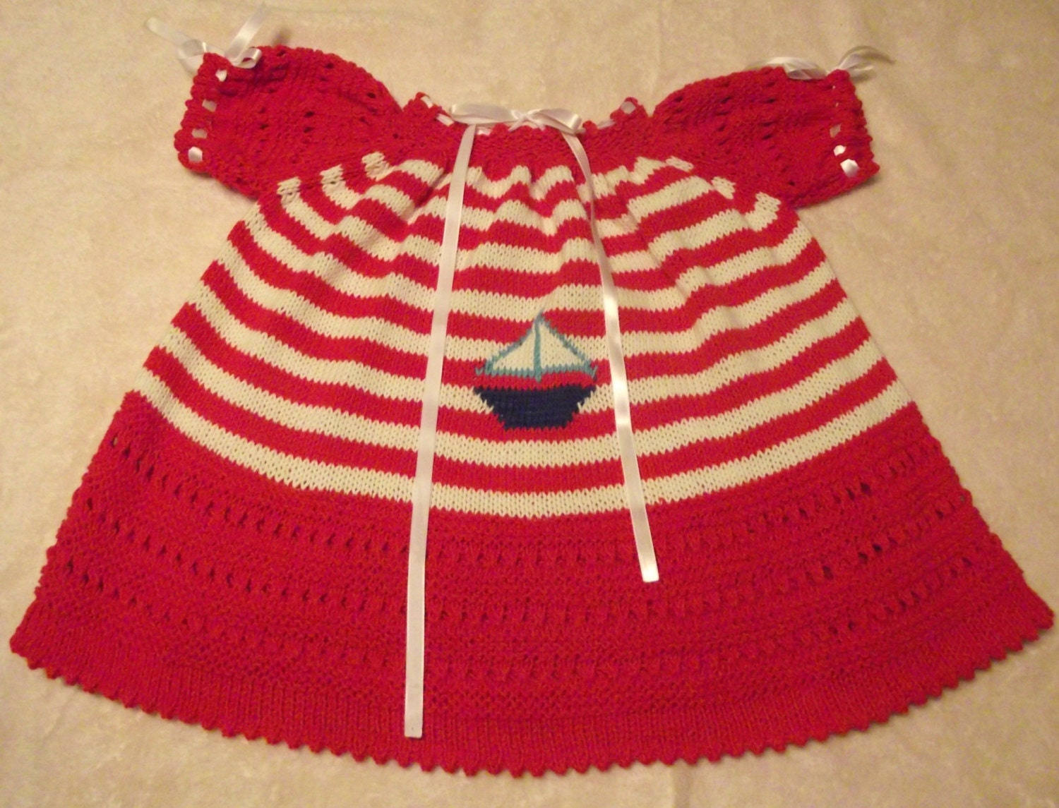 Hand Knitted Dress Patterns : Hand Knitted Cotton Baby Dress Marine Pattern