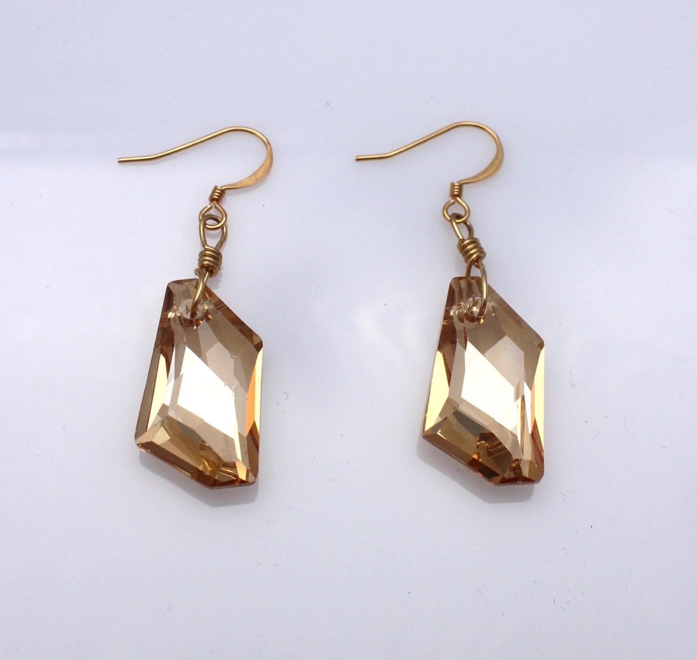 einzigartige gold swarovski kristall h ngende ohrringe. Black Bedroom Furniture Sets. Home Design Ideas
