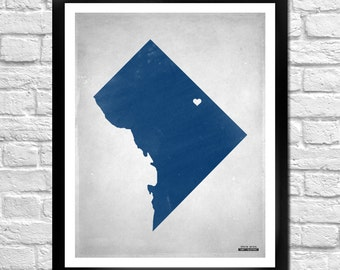District of Columbia State Map Personalized Art Print