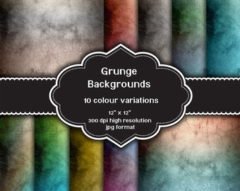 INSTANT DOWNLOAD - Collection of digital grunge backgrounds with ten different colour variations