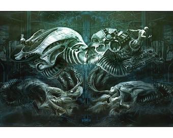 Atrum Votum, Original dark fantasy art, limited edition art print canvas, H R Giger inspired fine art by Sean Counley
