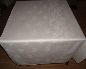 PERFECT  68x89 Vintage Antique White Irish Linen Double Damask Tablecloth 066