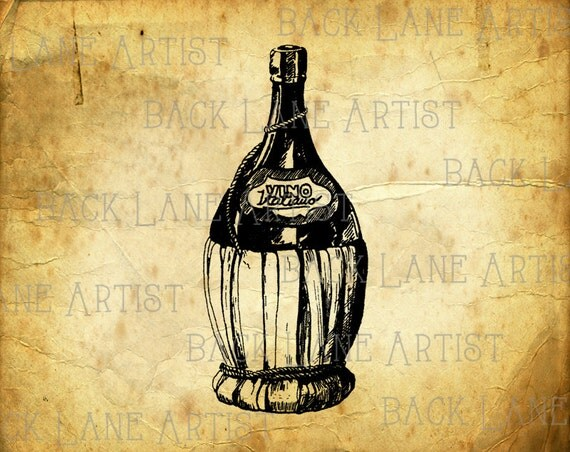 Vintage Champagne Wine Bottle Clipart Lineart Illustration Instant Download PNG JPG Digi Line Art Image Drawing L334