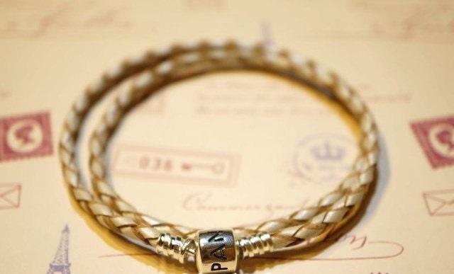 Pandora braided leather bracelet white 925 silver clasp