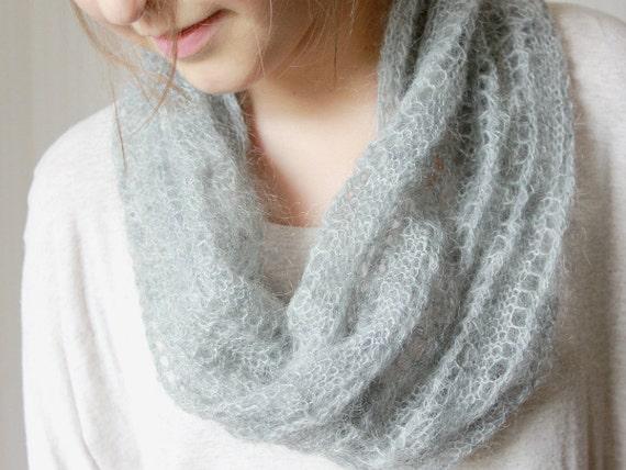grey grau chunky cowl schlauch schal stricken knit haube schal handgefertigt mohair garn. Black Bedroom Furniture Sets. Home Design Ideas