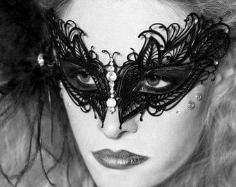 Black Butterfly,Filigree Laser Cut Masquerade Ball Mask, Center Mounted Swarovski Yellow Rhinestones,Masquerade Mask (For Her)