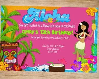 Luau Birthday Invitation - Luau Invitation - Luau Invite - Printable Invitation - Digital - Aloha Invitation