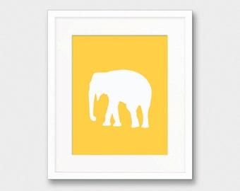 Mustard Elephant Silhouette, Elephant Silhouette, Yellow Art Print Animal Silhouette, Elephant Wall Art, Nursery Print, Nursery Silhouette