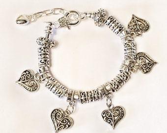 HANDMADE- Hmong Inspired Beautiful Vintage Dangle Heart Charm Bracelet