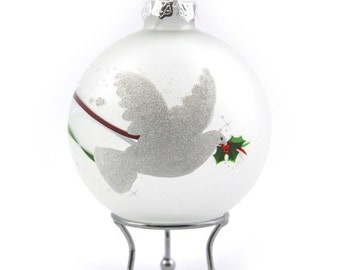 Frosted Handpainted Glass Christmas Peace Dove Bauble