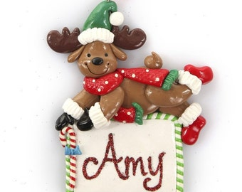 Personalised Reindeer with Plaque Christmas Decoration
