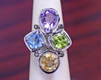 Sterling Silver Multi Color Ring