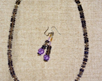 Purple necklace set with matching drop earrings