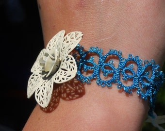 Blue Tatted Bracelet with Flower.