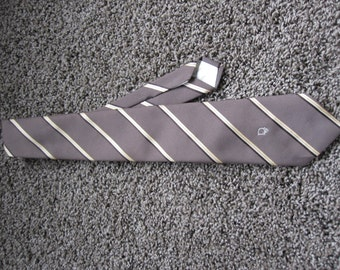Christian Dior Brown Tie - Yellow Stripes