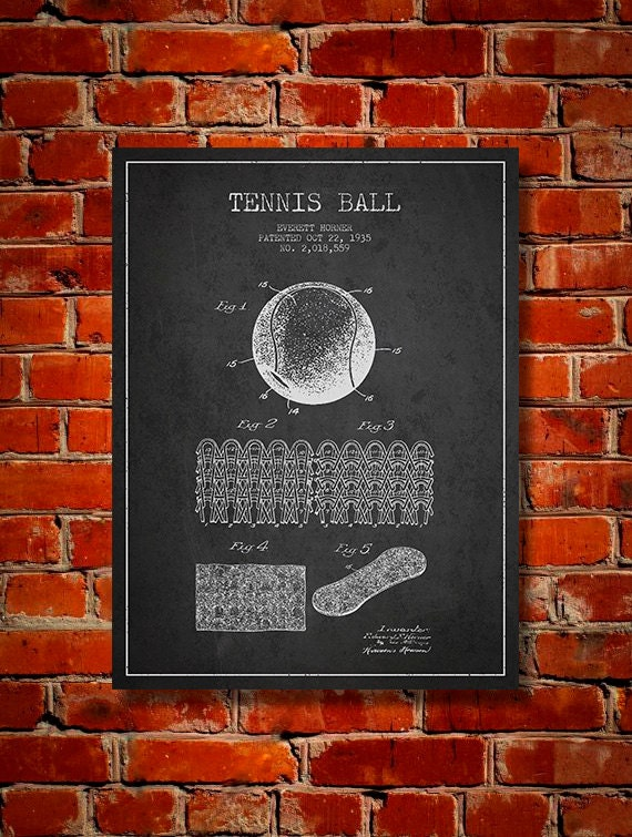 1935 tennis ball patent canvas print wall art home decor