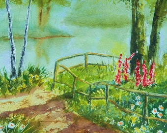 SECRET PLACE   Landscape Original Watercolor lakeside birchtrees pathway peaseful flowers Maineart Maineartist