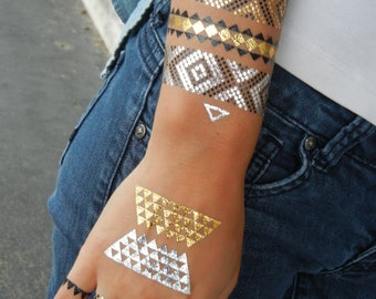 Metallic Tattoos, Temporary Tattoos, Metallic Temporary Tattoo, Metallic Tattoo Bracelet, Metallic Tattoo Jewelry, Temporary Metallic Tattoo