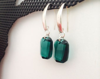 Green Emerald Swarovski Square Shaped Earrings,Sterling Silver, thehappylittlebeader