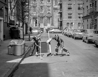 Vintage Black and White Photography Fine Art Print, Kids Playing Street Hockey