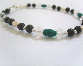 Malachite, Black and Sterling Silver Bracelet