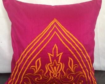 Fuschia Pink Orange Pillow Cover Neon Embroidery Fuschia Accent Pillow Couch Throw Pillow Sizes 14x14 16x16 18x18 20x20 22x22