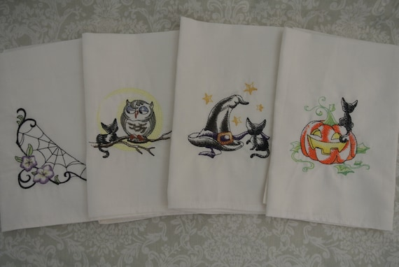 halloween, napkins, fabric, spider, net, owl, cat, party, table, set-up, decoration
