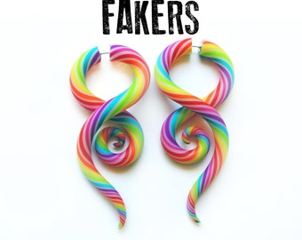 Fakers - Ear Candy Rainbow Earrings For Non-Stretched Lobes - Fake Gauges - Fake Gauged Earrings