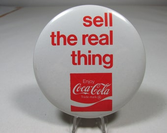 Coca Cola Pinback Large Vintage Advertising Pinback Ad Sell The Real Thing Soda Pop Memorabilia Vintage Pinback