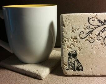 Set of 4 Little Pug Tumbled  Stone Coasters