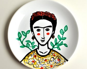 Hand - painted plate Frida Kahlo