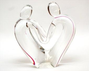 BIG heart sculpture, human heart figurine, couple glass sculpture, lovers couple, love glass figurine, pink glass heart, crystal glass heart