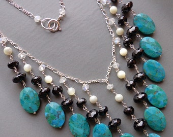 AZURE - Turquoise, Black Spinel and Mother of Pearl Multidrop Sterling Silver Chain Necklace