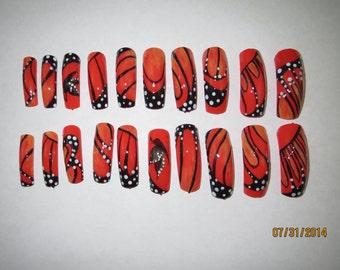 press on nails, monarch butterfly, nail art, full well nails, long nails, multi colored nails, dotting nail art, striping nail art