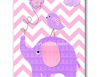 Elephant Nursery Digital Art Printable Print Baby Girl Nursery Art Children Art Kids Wall Art Digital Download 8x10 11X14 INSTANT DOWNLOAD