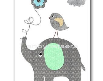 Elephant Nursery Download Baby Boy Nursery Art Digital Wall Art Digital Print Download Digital art Boy Art 8x10 11X14 INSTANT DOWNLOAD gray