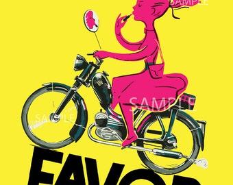 Favor Mopeds Bright Pink by Bellenger Vintage Art Print Poster - French, Vintage, Art Deco